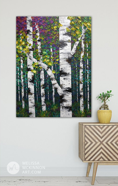 Landscape painting of aspens and birches art painting by modern landscape artist Melissa McKinnon A Walk In the Park,tree paintings, landscape paintings, birch trees, aspen trees, treescape, tree paintings on canvas, birch tree art, tree of life painting, birch tree canvas, aspen tree paintings, tree art, aspens, birches, art print, prints on canvas, giclee prints, acrylic paintings, oil paintings, paintings with texture, tree of life, nature painting, scenery painting, abstract art, contemporary art, modern art, abstract painting, modern paintings, art gallery, art galleries, online art gallery, art for sale, paintings for sale, wall painting, wall art, wall decor, home decor, living room painting, abstract landscape painting, abstract landscape, landscape artist, forest paintings, birch tree painting, forest paintings, fall painting, autumn painting, American art, american artist, Canadian art, colourful art, living room art, bedroom decor, bedroom painting, kitchen decor, kitchen painting, kitchen art, bedroom art, fine art, painting, picture art, original art, original paintings, large paintings, Canadian paintings, American paintings, interiors, interior decorating, interior design, interior designer, home decor ideas, interior design ideas, living room ideas, home interior design, house decoration, Melissa McKinnon art, Melissa McKinnon paintings,