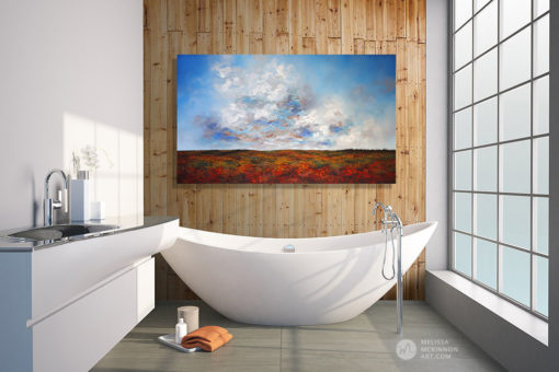 Landscape Painting in Bathroom of Autumn Prairies Clouds Sunset Sky by Abstract Landscape Painter Melissa McKinnon Artist, landscape paintings, landscapes, landscape art, acrylic paintings, oil paintings, paintings with texture, nature painting, scenery painting, art print, prints on canvas, giclee prints, abstract art, contemporary art, modern art, abstract painting, modern paintings, art gallery, art galleries, online art gallery, art for sale, paintings for sale, wall painting, wall art, wall decor, home decor, living room painting, abstract landscape painting, abstract landscape, landscape artist, American art, american artist, Canadian art, colourful art, living room art, bedroom decor, bedroom painting, kitchen decor, kitchen painting, kitchen art, bedroom art, fine art, painting, picture art, original art, original paintings, large paintings, Canadian paintings, American paintings, interiors, interior decorating, interior design, interior designer, home decor ideas, interior design ideas, living room ideas, home interior design, house decoration, Melissa McKinnon art, Melissa McKinnon paintings,