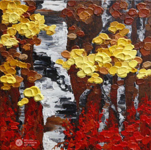 Acrylic landscape painting of aspen trees and birch trees painting on canvas by contemporary abstract landscape artist painter Melissa McKinnon, tree paintings, landscape paintings, birch trees, aspen trees, treescape, tree paintings on canvas, birch tree art, tree of life painting, birch tree canvas, aspen tree paintings, tree art, aspens, birches, art print, prints on canvas, giclee prints, acrylic paintings, oil paintings, paintings with texture, tree of life, nature painting, scenery painting, abstract art, contemporary art, modern art, abstract painting, modern paintings, art gallery, art galleries, online art gallery, art for sale, paintings for sale, wall painting, wall art, wall decor, home decor, living room painting, abstract landscape painting, abstract landscape, landscape artist, forest paintings, birch tree painting, forest paintings, fall painting, autumn painting, American art, american artist, Canadian art, colourful art, living room art, bedroom decor, bedroom painting, kitchen decor, kitchen painting, kitchen art, bedroom art, fine art, painting, picture art, original art, original paintings, large paintings, Canadian paintings, American paintings, interiors, interior decorating, interior design, interior designer, home decor ideas, interior design ideas, living room ideas, home interior design, house decoration, Melissa McKinnon art, Melissa McKinnon paintings,