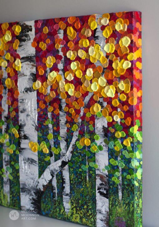 Acrylic landscape painting of birch trees and aspen trees on canvas by modern landscape artist painter Melissa McKinnon, tree paintings, landscape paintings, birch trees, aspen trees, treescape, tree paintings on canvas, birch tree art, tree of life painting, birch tree canvas, aspen tree paintings, tree art, aspens, birches, art print, prints on canvas, giclee prints, acrylic paintings, oil paintings, paintings with texture, tree of life, nature painting, scenery painting, abstract art, contemporary art, modern art, abstract painting, modern paintings, art gallery, art galleries, online art gallery, art for sale, paintings for sale, wall painting, wall art, wall decor, home decor, living room painting, abstract landscape painting, abstract landscape, landscape artist, forest paintings, birch tree painting, forest paintings, fall painting, autumn painting, American art, american artist, Canadian art, colourful art, living room art, bedroom decor, bedroom painting, kitchen decor, kitchen painting, kitchen art, bedroom art, fine art, painting, picture art, original art, original paintings, large paintings, Canadian paintings, American paintings, interiors, interior decorating, interior design, interior designer, home decor ideas, interior design ideas, living room ideas, home interior design, house decoration, Melissa McKinnon art, Melissa McKinnon paintings,