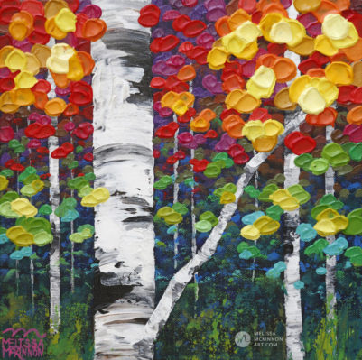 Colourful Tree painting of aspen trees and birch trees art painting by contemporary abstract landscape artist painter Melissa McKinnon Autumn Jewel II, tree paintings, landscape paintings, birch trees, aspen trees, treescape, tree paintings on canvas, birch tree art, tree of life painting, birch tree canvas, aspen tree paintings, tree art, aspens, birches, art print, prints on canvas, giclee prints, acrylic paintings, oil paintings, paintings with texture, tree of life, nature painting, scenery painting, abstract art, contemporary art, modern art, abstract painting, modern paintings, art gallery, art galleries, online art gallery, art for sale, paintings for sale, wall painting, wall art, wall decor, home decor, living room painting, abstract landscape painting, abstract landscape, landscape artist, forest paintings, birch tree painting, forest paintings, fall painting, autumn painting, American art, american artist, Canadian art, colourful art, living room art, bedroom decor, bedroom painting, kitchen decor, kitchen painting, kitchen art, bedroom art, fine art, painting, picture art, original art, original paintings, large paintings, Canadian paintings, American paintings, interiors, interior decorating, interior design, interior designer, home decor ideas, interior design ideas, living room ideas, home interior design, house decoration, Melissa McKinnon art, Melissa McKinnon paintings,