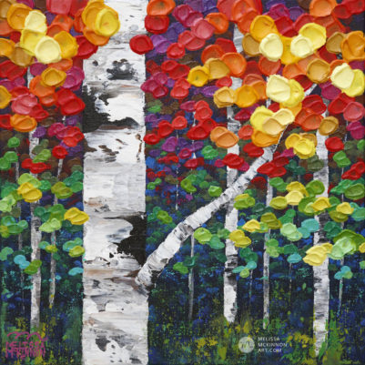 Colourful Tree painting of aspen trees and birch trees art painting by contemporary abstract landscape artist painter Melissa McKinnon Autumn Jewel IV, tree paintings, landscape paintings, birch trees, aspen trees, treescape, tree paintings on canvas, birch tree art, tree of life painting, birch tree canvas, aspen tree paintings, tree art, aspens, birches, art print, prints on canvas, giclee prints, acrylic paintings, oil paintings, paintings with texture, tree of life, nature painting, scenery painting, abstract art, contemporary art, modern art, abstract painting, modern paintings, art gallery, art galleries, online art gallery, art for sale, paintings for sale, wall painting, wall art, wall decor, home decor, living room painting, abstract landscape painting, abstract landscape, landscape artist, forest paintings, birch tree painting, forest paintings, fall painting, autumn painting, American art, american artist, Canadian art, colourful art, living room art, bedroom decor, bedroom painting, kitchen decor, kitchen painting, kitchen art, bedroom art, fine art, painting, picture art, original art, original paintings, large paintings, Canadian paintings, American paintings, interiors, interior decorating, interior design, interior designer, home decor ideas, interior design ideas, living room ideas, home interior design, house decoration, Melissa McKinnon art, Melissa McKinnon paintings,