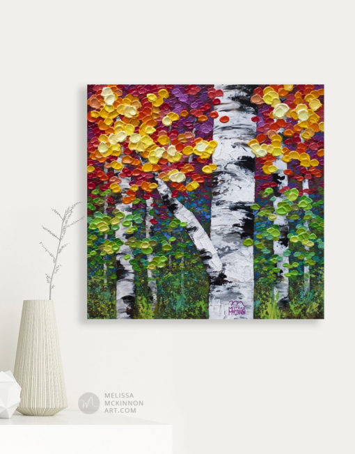 Tree painting of fall aspen trees and birch tree art by Canadian abstract tree artist painter Melissa McKinnon Canadian Autumn 8, tree paintings, landscape paintings, birch trees, aspen trees, treescape, tree paintings on canvas, birch tree art, tree of life painting, birch tree canvas, aspen tree paintings, tree art, aspens, birches, art print, prints on canvas, giclee prints, acrylic paintings, oil paintings, paintings with texture, tree of life, nature painting, scenery painting, abstract art, contemporary art, modern art, abstract painting, modern paintings, art gallery, art galleries, online art gallery, art for sale, paintings for sale, wall painting, wall art, wall decor, home decor, living room painting, abstract landscape painting, abstract landscape, landscape artist, forest paintings, birch tree painting, forest paintings, fall painting, autumn painting, American art, american artist, Canadian art, colourful art, living room art, bedroom decor, bedroom painting, kitchen decor, kitchen painting, kitchen art, bedroom art, fine art, painting, picture art, original art, original paintings, large paintings, Canadian paintings, American paintings, interiors, interior decorating, interior design, interior designer, home decor ideas, interior design ideas, living room ideas, home interior design, house decoration, Melissa McKinnon art, Melissa McKinnon paintings,