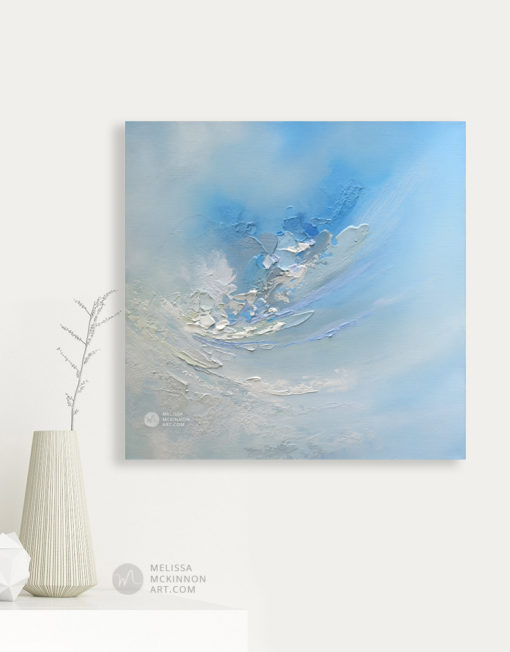 Abstract Painting of Blue Sky and White Clouds by Modern Abstract Landscape Painter Melissa McKinnon Artist Carried Away Painting in Living Room, paintings of skies, sky paintings, paintings of clouds, cloud art, sunset paintings, sunrise paintings, blue sky painting, sky art, clouds, cloud painting, sunset art, sunrise painting, sunrise art, sunset sky painting, colorful sky, sunset sky, landscape paintings, landscapes, landscape art, acrylic paintings, oil paintings, paintings with texture, nature painting, scenery painting, art print, prints on canvas, giclee prints, abstract art, contemporary art, modern art, abstract painting, modern paintings, art gallery, art galleries, online art gallery, art for sale, paintings for sale, wall painting, wall art, wall decor, home decor, living room painting, abstract landscape painting, abstract landscape, landscape artist, American art, american artist, Canadian art, colourful art, living room art, bedroom decor, bedroom painting, kitchen decor, kitchen painting, kitchen art, bedroom art, fine art, painting, picture art, original art, original paintings, large paintings, Canadian paintings, American paintings, interiors, interior decorating, interior design, interior designer, home decor ideas, interior design ideas, living room ideas, home interior design, house decoration, Melissa McKinnon art, Melissa McKinnon paintings,