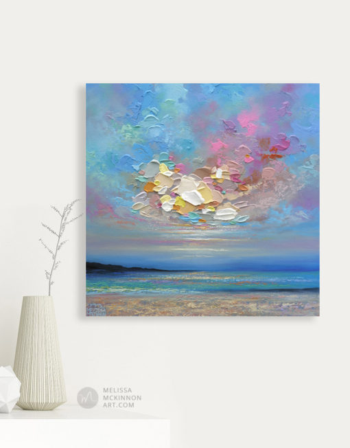 Abstract Landscape Painting of ocean beach and sunset sky by Modern Abstract Landscape Artist Melissa McKinnon Artist Chasing Clouds Painting in Living Room, paintings of skies, sky paintings, paintings of clouds, cloud art, sunset paintings, sunrise paintings, blue sky painting, sky art, clouds, cloud painting, sunset art, sunrise painting, sunrise art, sunset sky painting, colorful sky, sunset sky, landscape paintings, landscapes, landscape art, acrylic paintings, oil paintings, paintings with texture, nature painting, scenery painting, art print, prints on canvas, giclee prints, abstract art, contemporary art, modern art, abstract painting, modern paintings, art gallery, art galleries, online art gallery, art for sale, paintings for sale, wall painting, wall art, wall decor, home decor, living room painting, abstract landscape painting, abstract landscape, landscape artist, American art, american artist, Canadian art, colourful art, living room art, bedroom decor, bedroom painting, kitchen decor, kitchen painting, kitchen art, bedroom art, fine art, painting, picture art, original art, original paintings, large paintings, Canadian paintings, American paintings, interiors, interior decorating, interior design, interior designer, home decor ideas, interior design ideas, living room ideas, home interior design, house decoration, Melissa McKinnon art, Melissa McKinnon paintings,