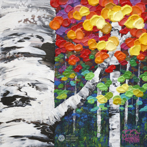Landscape painting of aspen trees and birch trees art painting by contemporary abstract landscape artist painter Melissa McKinnon Jewel Trees 9,
