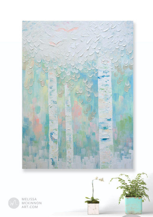 Pastel Landscape painting of abstract trees leaves and birds Tree of Life Painting by contemporary abstract landscape artist painter Melissa McKinnon My Dream For You,