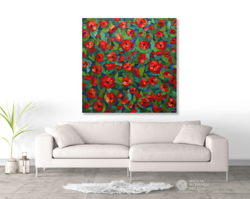 Floral painting of red poppy flower field floral bouquet by Canadian artist painter Melissa McKinnon, flower painting; paintings of flowers, paintings of red flowers, paintings of poppies, flower art; floral painting; floral art; flower arrangement; paintings of flower bouquet; floral bouquet; poppy flowers; poppies; red poppies; abstract flower painting; abstract floral painting; painting of field of flowers, painting of wildflowers, landscape painting; landscape art; landscape artists; abstract landscape painting; abstract landscape; scenery paintings; paintings of nature; nature paintings; nature art; landscape oil paintings; landscape acrylic paintings; original art; original paintings; oil paintings; acrylic paintings; paintings gallery; canvas painting; beautiful landscape paintings; western art;  western paintings; modern artist paintings; art gallery; Contemporary Artist;  contemporary painting;  original art; original paintings; oil paintings; oil paintings for sale; acrylic paintings;  paintings with texture; impasto painting;  Canadian artist; Canadian art; Canadian paintings; American artist; American artist; American paintings;  large paintings; big paintings; large canvas paintings; large wall paintings; contemporary landscape painting; Contemporary painting; colourful painting; paintings for sale; canvas wall art; wall art canvas; canvas art; wall art decor; bedroom wall decor; bathroom wall decor; living room wall decor; kitchen wall decor; interiors; interior decorating; interior design; interior designer; home decor ideas; interior design ideas; living room ideas; home interior design; house decoration; Melissa McKinnon art; Melissa McKinnon paintings; Melissa McKinnon art.