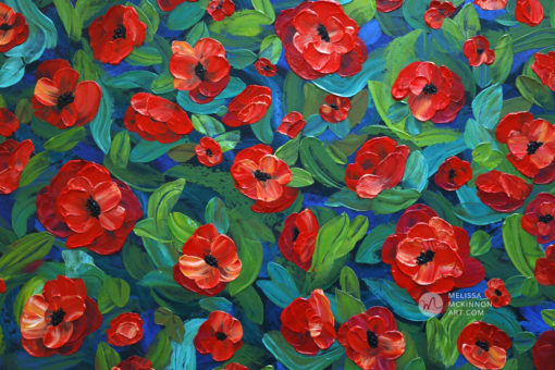 Abstract Floral painting of red poppy flower field floral bouquet by Canadian artist painter Melissa McKinnon, flower painting; paintings of flowers, paintings of red flowers, paintings of poppies, flower art; floral painting; floral art; flower arrangement; paintings of flower bouquet; floral bouquet; poppy flowers; poppies; red poppies; abstract flower painting; abstract floral painting; painting of field of flowers, painting of wildflowers, landscape painting; landscape art; landscape artists; abstract landscape painting; abstract landscape; scenery paintings; paintings of nature; nature paintings; nature art; landscape oil paintings; landscape acrylic paintings; original art; original paintings; oil paintings; acrylic paintings; paintings gallery; canvas painting; beautiful landscape paintings; western art;  western paintings; modern artist paintings; art gallery; Contemporary Artist;  contemporary painting;  original art; original paintings; oil paintings; oil paintings for sale; acrylic paintings;  paintings with texture; impasto painting;  Canadian artist; Canadian art; Canadian paintings; American artist; American artist; American paintings;  large paintings; big paintings; large canvas paintings; large wall paintings; contemporary landscape painting; Contemporary painting; colourful painting; paintings for sale; canvas wall art; wall art canvas; canvas art; wall art decor; bedroom wall decor; bathroom wall decor; living room wall decor; kitchen wall decor; interiors; interior decorating; interior design; interior designer; home decor ideas; interior design ideas; living room ideas; home interior design; house decoration; Melissa McKinnon art; Melissa McKinnon paintings; Melissa McKinnon art.