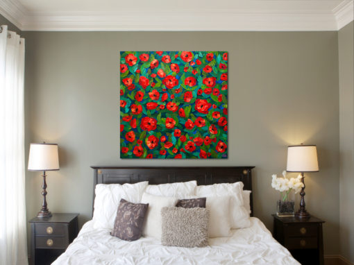 Bedroom Art painting of red poppy flower field floral bouquet by Canadian artist painter Melissa McKinnon, flower painting; paintings of flowers, paintings of red flowers, paintings of poppies, flower art; floral painting; floral art; flower arrangement; paintings of flower bouquet; floral bouquet; poppy flowers; poppies; red poppies; abstract flower painting; abstract floral painting; painting of field of flowers, painting of wildflowers, landscape painting; landscape art; landscape artists; abstract landscape painting; abstract landscape; scenery paintings; paintings of nature; nature paintings; nature art; landscape oil paintings; landscape acrylic paintings; original art; original paintings; oil paintings; acrylic paintings; paintings gallery; canvas painting; beautiful landscape paintings; western art;  western paintings; modern artist paintings; art gallery; Contemporary Artist;  contemporary painting;  original art; original paintings; oil paintings; oil paintings for sale; acrylic paintings;  paintings with texture; impasto painting;  Canadian artist; Canadian art; Canadian paintings; American artist; American artist; American paintings;  large paintings; big paintings; large canvas paintings; large wall paintings; contemporary landscape painting; Contemporary painting; colourful painting; paintings for sale; canvas wall art; wall art canvas; canvas art; wall art decor; bedroom wall decor; bathroom wall decor; living room wall decor; kitchen wall decor; interiors; interior decorating; interior design; interior designer; home decor ideas; interior design ideas; living room ideas; home interior design; house decoration; Melissa McKinnon art; Melissa McKinnon paintings; Melissa McKinnon art.