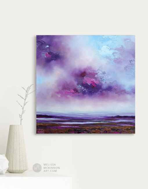Ocean Landscape Painting of sunset sky by Abstract Landscape Artist Melissa McKinnon Purple Haze, purple painting, landscape paintings, landscapes, landscape art, acrylic paintings, oil paintings, paintings with texture, nature painting, scenery painting, art print, prints on canvas, giclee prints, abstract art, contemporary art, modern art, abstract painting, modern paintings, art gallery, art galleries, online art gallery, art for sale, paintings for sale, wall painting, wall art, wall decor, home decor, living room painting, abstract landscape painting, abstract landscape, landscape artist, American art, american artist, Canadian art, colourful art, living room art, bedroom decor, bedroom painting, kitchen decor, kitchen painting, kitchen art, bedroom art, fine art, painting, picture art, original art, original paintings, large paintings, Canadian paintings, American paintings, interiors, interior decorating, interior design, interior designer, home decor ideas, interior design ideas, living room ideas, home interior design, house decoration, Melissa McKinnon art, Melissa McKinnon paintings,
