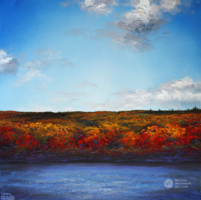 Landscape painting print of abstract river prairie landscape and cloudy blue sky by Contemporary Artist Painter Melissa McKinnon, landscape painting; landscape art; landscape artists; abstract landscape painting; abstract landscape; contemporary art; modern art paintings; scenery paintings; paintings of nature; nature paintings; nature art; landscape oil paintings; landscape acrylic paintings; cloud painting; cloud art; sky painting; sky art; sunset painting; sunset art; sunrise painting; sunrise art; mountain painting; mountain art; sea painting; sea art; beach painting; beach art; ocean painting; ocean art; lake painting; lake art; prairie painting; prairie art; seascape; original art; original paintings; oil paintings; acrylic paintings; paintings gallery; canvas painting; beautiful landscape paintings; western art;  western paintings; modern artist paintings; art gallery; Contemporary Artist;  contemporary painting;  original art; original paintings; oil paintings; oil paintings for sale; acrylic paintings;  paintings with texture; impasto painting;  Canadian artist; Canadian art; Canadian paintings; American artist; American artist; American paintings;  large paintings; big paintings; large canvas paintings; large wall paintings; contemporary landscape painting; Contemporary painting; colourful painting; paintings for sale; canvas wall art; wall art canvas; canvas art; wall art decor; bedroom wall decor; bathroom wall decor; living room wall decor; kitchen wall decor; interiors; interior decorating; interior design; interior designer; home decor ideas; interior design ideas; living room ideas; home interior design; house decoration; Melissa McKinnon art; Melissa McKinnon paintings; Melissa McKinnon art.