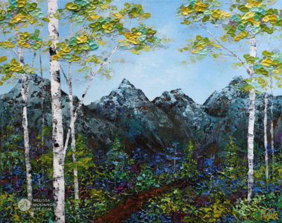 Nature painting of abstract mountain landscape with blue sky and aspen birch tree forest by Canadian Artist Painter Melissa McKinnon Spring Shade; landscape painting; landscape art; landscape artists; abstract landscape painting; mountain painting; mountain art; abstract landscape; contemporary art; modern art paintings; scenery paintings; paintings of nature; nature paintings; nature art; landscape oil paintings; landscape acrylic paintings; cloud painting; cloud art; sky painting; sky art; sunset painting; sunset art; sunrise painting; sunrise art; mountain painting; mountain art; sea painting; sea art; beach painting; beach art; ocean painting; ocean art; lake painting; lake art; prairie painting; prairie art; seascape; original art; original paintings; oil paintings; acrylic paintings; paintings gallery; canvas painting; beautiful landscape paintings; western art; western paintings; modern artist paintings; art gallery; Contemporary Artist; contemporary painting; original art; original paintings; oil paintings; oil paintings for sale; acrylic paintings; paintings with texture; impasto painting; Canadian artist; Canadian art; Canadian paintings; American artist; American artist; American paintings; large paintings; big paintings; large canvas paintings; large wall paintings; contemporary landscape painting; Contemporary painting; colourful painting; paintings for sale; canvas wall art; wall art canvas; canvas art; wall art decor; bedroom wall decor; bathroom wall decor; living room wall decor; kitchen wall decor; interiors; interior decorating; interior design; interior designer; home decor ideas; interior design ideas; living room ideas; home interior design; house decoration; Melissa McKinnon art; Melissa McKinnon paintings; Melissa McKinnon art.