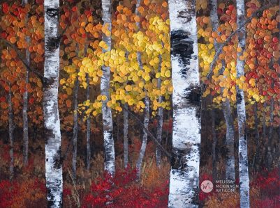 "Autumn trees landscape painting of aspen grove and birch trees giclee art print on canvas by contemporary abstract landscape artist painter Melissa McKinnon ""A Night To Remember', tree paintings, tree art, landscape paintings, tree paintings on canvas, nature art, scenery painting,  birch tree art, tree of life painting, birch tree canvas, aspen tree paintings, birch tree paintings, nature paintings, tree art, art prints of trees, art prints of nature, giclee print on canvas, abstract landscape painting, birch trees, aspen trees, treescape, aspen tree art, aspens, birches, art print, prints on canvas, giclee prints, acrylic paintings, oil paintings, paintings with texture, tree of life, abstract landscape, landscape artist, forest paintings, birch tree painting, forest paintings, fall painting, autumn painting, abstract art, contemporary art, modern art, abstract painting, modern paintings, art gallery, art galleries, online art gallery, art for sale, paintings for sale, wall painting, wall art, wall decor, home decor, living room painting, American art, american artist, Canadian art, colourful art, living room art, bedroom decor, bedroom painting, kitchen decor, kitchen painting, kitchen art, bedroom art, fine art, painting, picture art, original art, original paintings, large paintings, Canadian paintings, American paintings, interiors, interior decorating, interior design, interior designer, home decor ideas, interior design ideas, living room ideas, home interior design, house decoration, Melissa McKinnon art, Melissa McKinnon paintings,"
