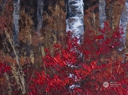 """Autumn trees landscape painting of aspen grove and birch trees giclee art print on canvas by contemporary abstract landscape artist painter Melissa McKinnon """"A Night To Remember', tree paintings, tree art,landscape paintings,tree paintings on canvas,nature art, scenery painting,birch tree art, tree of life painting,birch tree canvas, aspen tree paintings,birch treepaintings, nature paintings, tree art, art prints of trees, art prints of nature, giclee print on canvas,abstract landscape painting,birch trees, aspen trees,treescape,aspen tree art, aspens, birches, art print, prints on canvas, giclee prints,acrylic paintings, oilpaintings, paintings with texture, tree of life,abstractlandscape, landscape artist, forest paintings,birch tree painting, forest paintings,fall painting, autumn painting, abstract art, contemporary art, modern art, abstractpainting,modern paintings, art gallery, art galleries, online art gallery, art for sale, paintings for sale, wall painting, wall art, wall decor, home decor, living room painting,American art, american artist, Canadian art,colourful art, living room art, bedroom decor, bedroom painting, kitchen decor, kitchen painting, kitchen art, bedroom art, fine art, painting, picture art,original art, original paintings, large paintings,Canadian paintings, American paintings,interiors, interior decorating, interior design, interior designer, home decor ideas, interior design ideas, living room ideas, home interior design, house decoration, Melissa McKinnon art, Melissa McKinnon paintings,"""