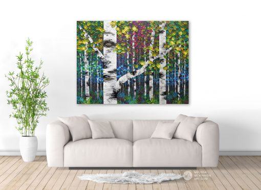 Autumn forest landscape painting of aspen trees and birch trees giclee art print on canvas by contemporary abstract landscape artist painter Melissa McKinnon 'Enchanted Forest', tree paintings, tree art, landscape paintings, tree paintings on canvas, nature art, scenery painting,  birch tree art, tree of life painting, birch tree canvas, aspen tree paintings, birch tree paintings, nature paintings, tree art, art prints of trees, art prints of nature, giclee print on canvas, abstract landscape painting, birch trees, aspen trees, treescape, aspen tree art, aspens, birches, art print, prints on canvas, giclee prints, acrylic paintings, oil paintings, paintings with texture, tree of life, abstract landscape, landscape artist, forest paintings, birch tree painting, forest paintings, fall painting, autumn painting, abstract art, contemporary art, modern art, abstract painting, modern paintings, art gallery, art galleries, online art gallery, art for sale, paintings for sale, wall painting, wall art, wall decor, home decor, living room painting, American art, american artist, Canadian art, colourful art, living room art, bedroom decor, bedroom painting, kitchen decor, kitchen painting, kitchen art, bedroom art, fine art, painting, picture art, original art, original paintings, large paintings, Canadian paintings, American paintings, interiors, interior decorating, interior design, interior designer, home decor ideas, interior design ideas, living room ideas, home interior design, house decoration, Melissa McKinnon art, Melissa McKinnon paintings,
