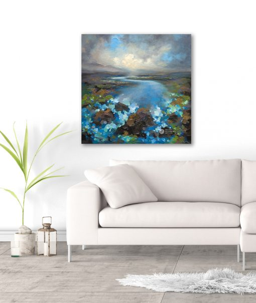 Nature painting of storm cloud sky over river and abstract landscape Giclee Art Print by contemporary painter artist Melissa McKinnon 'High Water', landscape paintings, landscapes, landscape art, storm sky, paintings of storms, river paintings, storm clouds, river art, acrylic paintings, oil paintings, paintings with texture, nature painting, scenery painting, art print, prints on canvas, giclee prints, art prints of nature, art prints of landscapes, giclee print on canvas, abstract art, contemporary art, modern art, abstract painting, modern paintings, art gallery, art galleries, online art gallery, art for sale, paintings for sale, wall painting, wall art, wall decor, home decor, living room painting, abstract landscape painting, abstract landscape, landscape artist, American art, american artist, Canadian art, colourful art, living room art, bedroom decor, bedroom painting, kitchen decor, kitchen painting, kitchen art, bedroom art, fine art, painting, picture art, original art, original paintings, large paintings, Canadian paintings, American paintings, interiors, interior decorating, interior design, interior designer, home decor ideas, interior design ideas, living room ideas, home interior design, house decoration, Melissa McKinnon art, Melissa McKinnon paintings,
