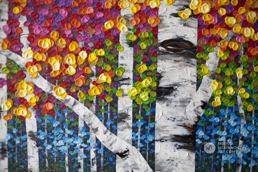 Autumn forest landscape painting of aspen trees and birch trees giclee art print on canvas by contemporary abstract landscape artist painter Melissa McKinnon 'Jungle Fever', tree paintings, tree art, landscape paintings, tree paintings on canvas, nature art, scenery painting,  birch tree art, tree of life painting, birch tree canvas, aspen tree paintings, birch tree paintings, nature paintings, tree art, art prints of trees, art prints of nature, giclee print on canvas, abstract landscape painting, birch trees, aspen trees, treescape, aspen tree art, aspens, birches, art print, prints on canvas, giclee prints, acrylic paintings, oil paintings, paintings with texture, tree of life, abstract landscape, landscape artist, forest paintings, birch tree painting, forest paintings, fall painting, autumn painting, abstract art, contemporary art, modern art, abstract painting, modern paintings, art gallery, art galleries, online art gallery, art for sale, paintings for sale, wall painting, wall art, wall decor, home decor, living room painting, American art, american artist, Canadian art, colourful art, living room art, bedroom decor, bedroom painting, kitchen decor, kitchen painting, kitchen art, bedroom art, fine art, painting, picture art, original art, original paintings, large paintings, Canadian paintings, American paintings, interiors, interior decorating, interior design, interior designer, home decor ideas, interior design ideas, living room ideas, home interior design, house decoration, Melissa McKinnon art, Melissa McKinnon paintings,