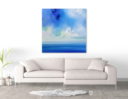 Seascape Painting Fine Art Giclee Print of blue sky white clouds and ocean by abstract landscape artist painter Melissa McKinnon 'Kiss the Sky', paintings of the ocean; Paintings of sunset skies, paintings of cloudy sunset; paintings of colorful skies; paintings of landscapes; ocean art, ocean paintings, paintings of ocean scenes, paintings of skies, paintings of sky and clouds, sunset sky art paintings, Seascape paintings, seascape art, ocean and beach art print, paintings of ocean and sky, paintings of nature, paintings of landscapes, sunset sky art prints, beach art, beach paintings, sky paintings, paintings of clouds, sunset paintings, sunrise paintings, blue sky painting, blue sky art, sky, clouds, sunset, sunrise art paintings, Contemporary Art, Landscape Painting, Wall art, sea, seascape, ocean, beach, beaches, interior design, design inspiration, home decor, interior designer, Calgary paintings, Calgary artist, Canadian artist, Alberta artist, Alberta painting, abstract art, abstract artist, modern art, acrylic Paintings, oil paintings, Abstract paintings, paintings with texture, abstract art, wall decor, modern art, fine art, art,contemporary landscape painting, contemporary landscape artist, Contemporary painting, colourful painting, paintings for sale, Decor, Interior design ideas, interior design inspiration, Calgary interior designer, interior design Calgary, Home, design, decor inspiration, interior styling, modern home,  style, interiors, modern decor, home inspiration, interior decorating, Art for Home.