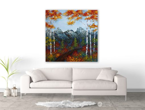 Landscape painting of mountains and aspen and birch tree forest with fall foliage in autumn by contemporary painter artist Melissa McKinnongiclee art print of nature 'Morning Hike', landscape paintings,landscape art,mountain paintings, mountain art, rocky mountains, mountain view, mountain range,art prints of mountains,acrylic paintings, oilpaintings, paintings with texture, nature painting, scenery painting,art print, prints on canvas, giclee prints,art prints of nature,art prints of landscapes, giclee print on canvas, landscapes,mountains,abstract art, contemporary art, modern art, abstractpainting,modern paintings, art gallery, art galleries, online art gallery, art for sale, paintings for sale, wall painting, wall art, wall decor, home decor, living room painting,abstract landscape painting, abstractlandscape, landscape artist, American art, american artist, Canadian art,colourful art, living room art, bedroom decor, bedroom painting, kitchen decor, kitchen painting, kitchen art, bedroom art, fine art, painting, picture art,original art, original paintings, large paintings,Canadian paintings, American paintings,interiors, interior decorating, interior design, interior designer, home decor ideas, interior design ideas, living room ideas, home interior design, house decoration, Melissa McKinnon art, Melissa McKinnon paintings,