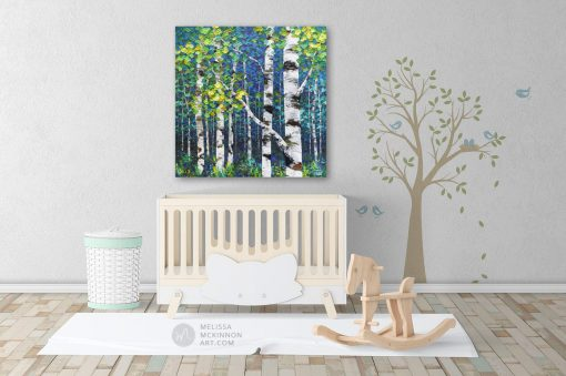 Baby nursery decor with painting of aspen trees and birch trees in autumn forest by Canadian abstract landscape artist painter Melissa McKinnon; Fine art paintings of trees, paintings of aspen trees, Paintings of birch trees, paintings of landscapes, paintings of landscape and trees, tree paintings; tree art; paintings of trees; treescape;  tree of life painting; tree paintings on canvas; birch tree art; birch tree paintings; birch tree canvas; paintings of birch trees; aspen tree art; aspen tree paintings; fall painting; autumn painting; colorful paintings of trees, autumn art; fall art; landscape painting; landscape art; landscape artists; abstract landscape painting; abstract landscape; contemporary art; modern art paintings; scenery paintings; paintings of nature; nature paintings; nature art; landscape oil paintings; landscape acrylic paintings; original art; original paintings; oil paintings; acrylic paintings; paintings gallery; canvas painting; beautiful landscape paintings; western art;  western paintings; modern artist paintings; art gallery; Contemporary Artist;  contemporary painting;  original art; original paintings; oil paintings; oil paintings for sale; acrylic paintings;  paintings with texture; impasto painting;  Canadian artist; Canadian art; Canadian paintings; American artist; American artist; American paintings;  large paintings; big paintings; large canvas paintings; large wall paintings; contemporary landscape painting; Contemporary painting; colourful painting; paintings for sale; canvas wall art; wall art canvas; canvas art; wall art decor; bedroom wall decor; bathroom wall decor; living room wall decor; kitchen wall decor; interiors; interior decorating; interior design; interior designer; home decor ideas; interior design ideas; living room ideas; home interior design; house decoration; Melissa McKinnon art; Melissa McKinnon paintings; Melissa McKinnon art. tree paintings; tree art; paintings of trees; treescape;  tree of life pai