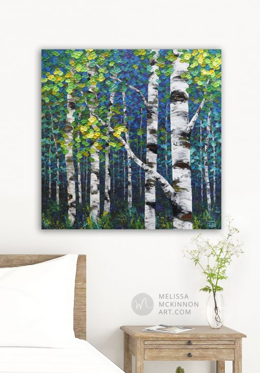 Modern bedroom decor with painting of aspen trees and birch trees in autumn forest by Canadian abstract landscape artist painter Melissa McKinnon; Fine art paintings of trees, paintings of aspen trees, Paintings of birch trees, paintings of landscapes, paintings of landscape and trees, tree paintings; tree art; paintings of trees; treescape;  tree of life painting; tree paintings on canvas; birch tree art; birch tree paintings; birch tree canvas; paintings of birch trees; aspen tree art; aspen tree paintings; fall painting; autumn painting; colorful paintings of trees, autumn art; fall art; landscape painting; landscape art; landscape artists; abstract landscape painting; abstract landscape; contemporary art; modern art paintings; scenery paintings; paintings of nature; nature paintings; nature art; landscape oil paintings; landscape acrylic paintings; original art; original paintings; oil paintings; acrylic paintings; paintings gallery; canvas painting; beautiful landscape paintings; western art;  western paintings; modern artist paintings; art gallery; Contemporary Artist;  contemporary painting;  original art; original paintings; oil paintings; oil paintings for sale; acrylic paintings;  paintings with texture; impasto painting;  Canadian artist; Canadian art; Canadian paintings; American artist; American artist; American paintings;  large paintings; big paintings; large canvas paintings; large wall paintings; contemporary landscape painting; Contemporary painting; colourful painting; paintings for sale; canvas wall art; wall art canvas; canvas art; wall art decor; bedroom wall decor; bathroom wall decor; living room wall decor; kitchen wall decor; interiors; interior decorating; interior design; interior designer; home decor ideas; interior design ideas; living room ideas; home interior design; house decoration; Melissa McKinnon art; Melissa McKinnon paintings; Melissa McKinnon art. tree paintings; tree art; paintings of trees; treescape;  tree of life p