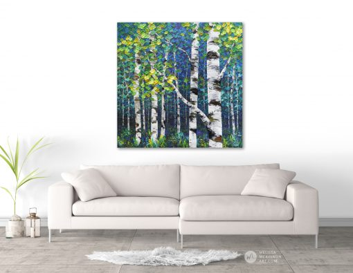 Modern livingroom decor with painting of aspen trees and birch trees in autumn forest by Canadian abstract landscape artist painter Melissa McKinnon; Fine art paintings of trees, paintings of aspen trees, Paintings of birch trees, paintings of landscapes, paintings of landscape and trees, tree paintings; tree art; paintings of trees; treescape;  tree of life painting; tree paintings on canvas; birch tree art; birch tree paintings; birch tree canvas; paintings of birch trees; aspen tree art; aspen tree paintings; fall painting; autumn painting; colorful paintings of trees, autumn art; fall art; landscape painting; landscape art; landscape artists; abstract landscape painting; abstract landscape; contemporary art; modern art paintings; scenery paintings; paintings of nature; nature paintings; nature art; landscape oil paintings; landscape acrylic paintings; original art; original paintings; oil paintings; acrylic paintings; paintings gallery; canvas painting; beautiful landscape paintings; western art;  western paintings; modern artist paintings; art gallery; Contemporary Artist;  contemporary painting;  original art; original paintings; oil paintings; oil paintings for sale; acrylic paintings;  paintings with texture; impasto painting;  Canadian artist; Canadian art; Canadian paintings; American artist; American artist; American paintings;  large paintings; big paintings; large canvas paintings; large wall paintings; contemporary landscape painting; Contemporary painting; colourful painting; paintings for sale; canvas wall art; wall art canvas; canvas art; wall art decor; bedroom wall decor; bathroom wall decor; living room wall decor; kitchen wall decor; interiors; interior decorating; interior design; interior designer; home decor ideas; interior design ideas; living room ideas; home interior design; house decoration; Melissa McKinnon art; Melissa McKinnon paintings; Melissa McKinnon art. tree paintings; tree art; paintings of trees; treescape;  tree of lif