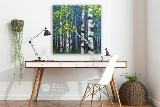 Home office decor with painting of aspen trees and birch trees in autumn forest by Canadian abstract landscape artist painter Melissa McKinnon; Fine art paintings of trees, paintings of aspen trees, Paintings of birch trees, paintings of landscapes, paintings of landscape and trees, tree paintings; tree art; paintings of trees; treescape;  tree of life painting; tree paintings on canvas; birch tree art; birch tree paintings; birch tree canvas; paintings of birch trees; aspen tree art; aspen tree paintings; fall painting; autumn painting; colorful paintings of trees, autumn art; fall art; landscape painting; landscape art; landscape artists; abstract landscape painting; abstract landscape; contemporary art; modern art paintings; scenery paintings; paintings of nature; nature paintings; nature art; landscape oil paintings; landscape acrylic paintings; original art; original paintings; oil paintings; acrylic paintings; paintings gallery; canvas painting; beautiful landscape paintings; western art;  western paintings; modern artist paintings; art gallery; Contemporary Artist;  contemporary painting;  original art; original paintings; oil paintings; oil paintings for sale; acrylic paintings;  paintings with texture; impasto painting;  Canadian artist; Canadian art; Canadian paintings; American artist; American artist; American paintings;  large paintings; big paintings; large canvas paintings; large wall paintings; contemporary landscape painting; Contemporary painting; colourful painting; paintings for sale; canvas wall art; wall art canvas; canvas art; wall art decor; bedroom wall decor; bathroom wall decor; living room wall decor; kitchen wall decor; interiors; interior decorating; interior design; interior designer; home decor ideas; interior design ideas; living room ideas; home interior design; house decoration; Melissa McKinnon art; Melissa McKinnon paintings; Melissa McKinnon art. tree paintings; tree art; paintings of trees; treescape;  tree of life pain