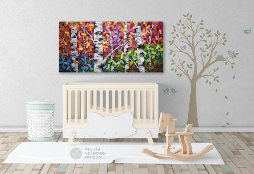 Kids bedroom accessories abstract painting nature landscape aspens birch trees in autumn giclée art print on canvas by contemporary abstract landscape artist painter Melissa McKinnon 'The Ties That Bind Us', tree paintings, tree art, landscape paintings, tree paintings on canvas, nature art, scenery painting,  birch tree art, tree of life painting, birch tree canvas, aspen tree paintings, birch tree paintings, nature paintings, tree art, art prints of trees, art prints of nature, giclee print on canvas, abstract landscape painting, birch trees, aspen trees, treescape, aspen tree art, aspens, birches, art print, prints on canvas, giclee prints, acrylic paintings, oil paintings, paintings with texture, tree of life, abstract landscape, landscape artist, forest paintings, birch tree painting, forest paintings, fall painting, autumn painting, abstract art, contemporary art, modern art, abstract painting, modern paintings, art gallery, art galleries, online art gallery, art for sale, paintings for sale, wall painting, wall art, wall decor, home decor, living room painting, American art, american artist, Canadian art, colourful art, living room art, bedroom decor, bedroom painting, kitchen decor, kitchen painting, kitchen art, bedroom art, fine art, painting, picture art, original art, original paintings, large paintings, Canadian paintings, American paintings, interiors, interior decorating, interior design, interior designer, home decor ideas, interior design ideas, living room ideas, home interior design, house decoration, Melissa McKinnon art, Melissa McKinnon paintings,