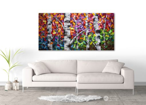 Living Room Art abstract painting of aspen and birch trees in autumn Giclée fine art print on canvas by contemporary abstract landscape artist Melissa McKinnon 'The Ties That Bind Us', tree paintings, tree art, landscape paintings, tree paintings on canvas, nature art, scenery painting,  birch tree art, tree of life painting, birch tree canvas, aspen tree paintings, birch tree paintings, nature paintings, tree art, art prints of trees, art prints of nature, giclee print on canvas, abstract landscape painting, birch trees, aspen trees, treescape, aspen tree art, aspens, birches, art print, prints on canvas, giclee prints, acrylic paintings, oil paintings, paintings with texture, tree of life, abstract landscape, landscape artist, forest paintings, birch tree painting, forest paintings, fall painting, autumn painting, abstract art, contemporary art, modern art, abstract painting, modern paintings, art gallery, art galleries, online art gallery, art for sale, paintings for sale, wall painting, wall art, wall decor, home decor, living room painting, American art, american artist, Canadian art, colourful art, living room art, bedroom decor, bedroom painting, kitchen decor, kitchen painting, kitchen art, bedroom art, fine art, painting, picture art, original art, original paintings, large paintings, Canadian paintings, American paintings, interiors, interior decorating, interior design, interior designer, home decor ideas, interior design ideas, living room ideas, home interior design, house decoration, Melissa McKinnon art, Melissa McKinnon paintings,