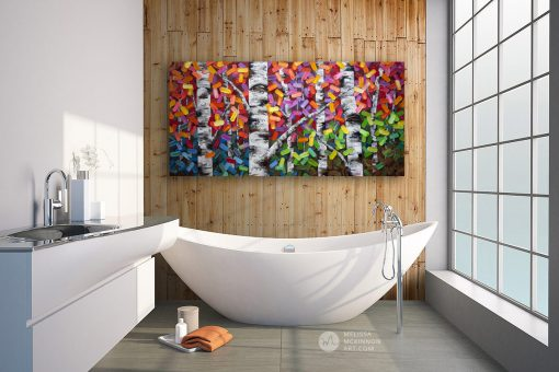 Modern bathroom abstract painting nature landscape aspens birch trees in autumn giclée art print on canvas by contemporary abstract landscape artist painter Melissa McKinnon 'The Ties That Bind Us', tree paintings, tree art, landscape paintings, tree paintings on canvas, nature art, scenery painting,  birch tree art, tree of life painting, birch tree canvas, aspen tree paintings, birch tree paintings, nature paintings, tree art, art prints of trees, art prints of nature, giclee print on canvas, abstract landscape painting, birch trees, aspen trees, treescape, aspen tree art, aspens, birches, art print, prints on canvas, giclee prints, acrylic paintings, oil paintings, paintings with texture, tree of life, abstract landscape, landscape artist, forest paintings, birch tree painting, forest paintings, fall painting, autumn painting, abstract art, contemporary art, modern art, abstract painting, modern paintings, art gallery, art galleries, online art gallery, art for sale, paintings for sale, wall painting, wall art, wall decor, home decor, living room painting, American art, american artist, Canadian art, colourful art, living room art, bedroom decor, bedroom painting, kitchen decor, kitchen painting, kitchen art, bedroom art, fine art, painting, picture art, original art, original paintings, large paintings, Canadian paintings, American paintings, interiors, interior decorating, interior design, interior designer, home decor ideas, interior design ideas, living room ideas, home interior design, house decoration, Melissa McKinnon art, Melissa McKinnon paintings,