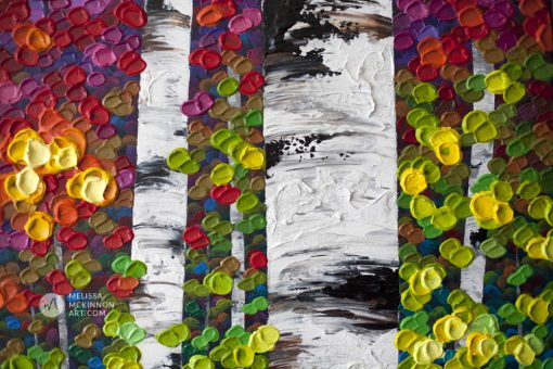 Autumn forest landscape painting of aspen trees and birch trees giclee art print on canvas by contemporary abstract landscape artist painter Melissa McKinnon 'Vibrant Autumn', tree paintings, tree art, landscape paintings, tree paintings on canvas, nature art, scenery painting,  birch tree art, tree of life painting, birch tree canvas, aspen tree paintings, birch tree paintings, nature paintings, tree art, art prints of trees, art prints of nature, giclee print on canvas, abstract landscape painting, birch trees, aspen trees, treescape, aspen tree art, aspens, birches, art print, prints on canvas, giclee prints, acrylic paintings, oil paintings, paintings with texture, tree of life, abstract landscape, landscape artist, forest paintings, birch tree painting, forest paintings, fall painting, autumn painting, abstract art, contemporary art, modern art, abstract painting, modern paintings, art gallery, art galleries, online art gallery, art for sale, paintings for sale, wall painting, wall art, wall decor, home decor, living room painting, American art, american artist, Canadian art, colourful art, living room art, bedroom decor, bedroom painting, kitchen decor, kitchen painting, kitchen art, bedroom art, fine art, painting, picture art, original art, original paintings, large paintings, Canadian paintings, American paintings, interiors, interior decorating, interior design, interior designer, home decor ideas, interior design ideas, living room ideas, home interior design, house decoration, Melissa McKinnon art, Melissa McKinnon paintings,