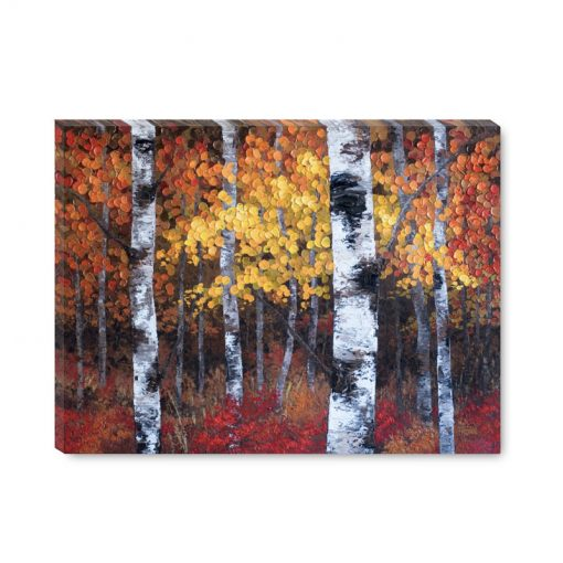 """Giclee art print on canvas of autumn aspen and birch tree landscape painting by contemporary abstract landscape artist painter Melissa McKinnon """"A Night To Remember'"""