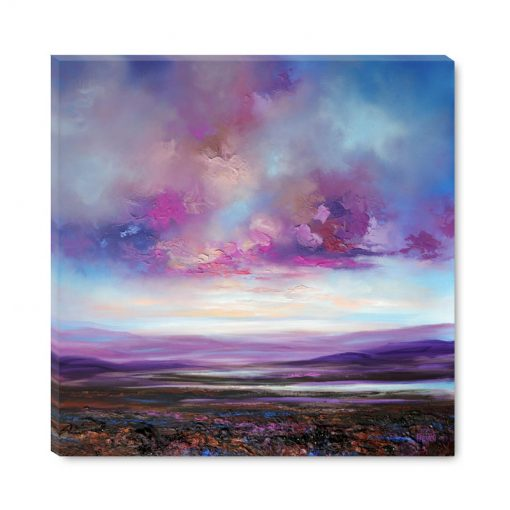 Giclee Fine Art Print on canvas of purple sunset sky mountains and lake landscape painting by abstract landscape artist Melissa McKinnon 'Blushing Sky'