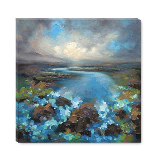 Art print on canvas Nature painting of storm cloud sky over river and abstract landscape Giclee Art Print by contemporary painter artist Melissa McKinnon 'High Water'