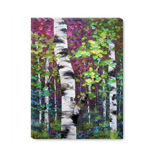 Affordable art print on canvas landscape painting of aspen and birch trees in autumn giclee art print by contemporary abstract landscape artist Melissa McKinnon 'Last Days of Summer'