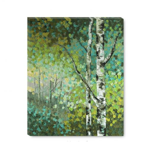 Cheap art print on canvas Abstract tree landscape painting of aspen and birch trees giclee art print by contemporary abstract landscape artist painter Melissa McKinnon 'Little Seeds'