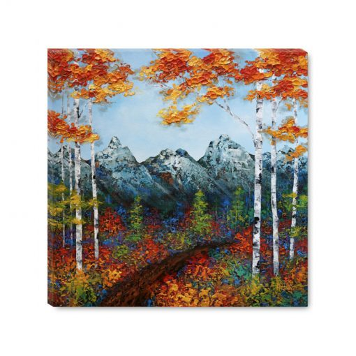 Art print on canvas landscape painting of mountains and aspen birch tree forest with fall foliage in autumn by contemporary painter artist Melissa McKinnongiclee 'Morning Hike',