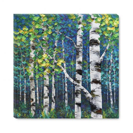 Art Giclee Print on canvas Colourful Aspen and Birch Tree Painting by Canadian Contemporary Landscape Artist Melissa McKinnon New Awakening