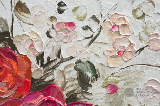 Fine art floral painting on canvas of roses peony and cherry blossom flower bouquet giclee art print by contemporary abstract botanical artist painter Melissa McKinnon painted with palette knife and impasto texture title 'Among the Cherry Blossoms', flower painting; paintings of flowers, paintings of white flowers, abstract flower painting; abstract floral painting; oil painting of flowers, acrylic painting of flowers, paintings of white flowers, flower art; floral painting; botanical painting; botanical art; floral art; flower arrangement; paintings of flower bouquet; floral bouquet; white poppies; painting of field of flowers, white rose painting; painting of wildflowers, landscape painting; landscape art; landscape artists; abstract landscape painting; abstract landscape; scenery paintings; paintings of nature; nature paintings; nature art; landscape oil paintings; landscape acrylic paintings; original art; original paintings; oil paintings; acrylic paintings; paintings gallery; canvas painting; beautiful landscape paintings; western art;  western paintings; modern artist paintings; art gallery; Contemporary Artist;  contemporary painting;  original art; original paintings; oil paintings; oil paintings for sale; acrylic paintings;  paintings with texture; impasto painting;  Canadian artist; Canadian art; Canadian paintings; American artist; American artist; American paintings;  large paintings; big paintings; large canvas paintings; large wall paintings; contemporary landscape painting; Contemporary painting; colourful painting; paintings for sale; canvas wall art; wall art canvas; canvas art; wall art decor; bedroom wall decor; bathroom wall decor; living room wall decor; kitchen wall decor; interiors; interior decorating; interior design; interior designer; home decor ideas; interior design ideas; living room ideas; home interior design; house decoration; Melissa McKinnon art; Melissa McKinnon paintings; Melissa McKinnon art.