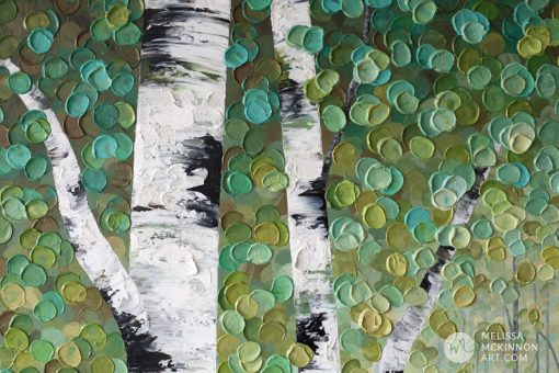 Abstract tree landscape nature painting of aspen trees and birch trees giclee art print on canvas by contemporary abstract landscape artist painter Melissa McKinnon 'Bathed In Golden Light'