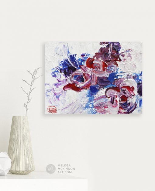 Fine art floral painting on canvas of of red white and blue flower bouquet giclee art print by contemporary abstract botanical artist painter Melissa McKinnon painted with palette knife and impasto texture title 'I'm Happiest With You', flower painting; paintings of flowers, paintings of white flowers, abstract flower painting; abstract floral painting; oil painting of flowers, acrylic painting of flowers, paintings of white flowers, flower art; floral painting; botanical painting; botanical art; floral art; flower arrangement; paintings of flower bouquet; floral bouquet; white poppies; painting of field of flowers, white rose painting; painting of wildflowers, landscape painting; landscape art; landscape artists; abstract landscape painting; abstract landscape; scenery paintings; paintings of nature; nature paintings; nature art; landscape oil paintings; landscape acrylic paintings; original art; original paintings; oil paintings; acrylic paintings; paintings gallery; canvas painting; beautiful landscape paintings; western art;  western paintings; modern artist paintings; art gallery; Contemporary Artist;  contemporary painting;  original art; original paintings; oil paintings; oil paintings for sale; acrylic paintings;  paintings with texture; impasto painting;  Canadian artist; Canadian art; Canadian paintings; American artist; American artist; American paintings;  large paintings; big paintings; large canvas paintings; large wall paintings; contemporary landscape painting; Contemporary painting; colourful painting; paintings for sale; canvas wall art; wall art canvas; canvas art; wall art decor; bedroom wall decor; bathroom wall decor; living room wall decor; kitchen wall decor; interiors; interior decorating; interior design; interior designer; home decor ideas; interior design ideas; living room ideas; home interior design; house decoration; Melissa McKinnon art; Melissa McKinnon paintings; Melissa McKinnon art.