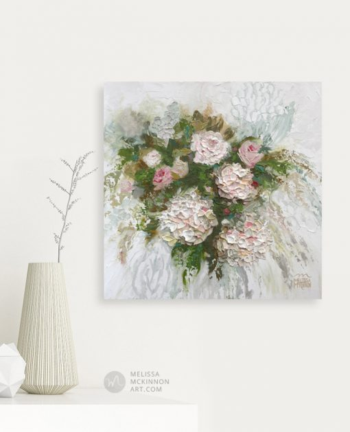 Abstract floral painting of white flowers by Canadian botanical artist painter Melissa McKinnon Title Heather's Flowers, hydrangea flower painting; flower painting, paintings of flowers, paintings of white flowers, abstract flower painting; abstract floral painting; oil painting of flowers, acrylic painting of flowers, paintings of white flowers, flower art; floral painting; botanical painting; botanical art; floral art; flower arrangement; paintings of flower bouquet; floral bouquet; white poppies; painting of field of flowers, white rose painting; painting of wildflowers, landscape painting; landscape art; landscape artists; abstract landscape painting; abstract landscape; scenery paintings; paintings of nature; nature paintings; nature art; landscape oil paintings; landscape acrylic paintings; original art; original paintings; oil paintings; acrylic paintings; paintings gallery; canvas painting; beautiful landscape paintings; western art;  western paintings; modern artist paintings; art gallery; Contemporary Artist;  contemporary painting;  original art; original paintings; oil paintings; oil paintings for sale; acrylic paintings;  paintings with texture; impasto painting;  Canadian artist; Canadian art; Canadian paintings; American artist; American artist; American paintings;  large paintings; big paintings; large canvas paintings; large wall paintings; contemporary landscape painting; Contemporary painting; colourful painting; paintings for sale; canvas wall art; wall art canvas; canvas art; wall art decor; bedroom wall decor; bathroom wall decor; living room wall decor; kitchen wall decor; interiors; interior decorating; interior design; interior designer; home decor ideas; interior design ideas; living room ideas; home interior design; house decoration; Melissa McKinnon art; Melissa McKinnon paintings; Melissa McKinnon art.