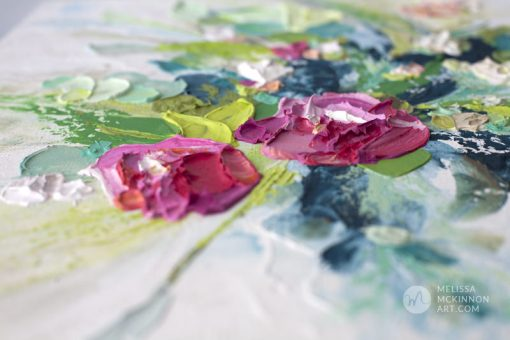 Fine art floral painting on canvas of pink rose and poppy flower bouquet giclee art print by contemporary abstract botanical artist painter Melissa McKinnon painted with palette knife and impasto texture title 'I'm Happiest With You', flower painting; paintings of flowers, paintings of white flowers, abstract flower painting; abstract floral painting; oil painting of flowers, acrylic painting of flowers, paintings of white flowers, flower art; floral painting; botanical painting; botanical art; floral art; flower arrangement; paintings of flower bouquet; floral bouquet; white poppies; painting of field of flowers, white rose painting; painting of wildflowers, landscape painting; landscape art; landscape artists; abstract landscape painting; abstract landscape; scenery paintings; paintings of nature; nature paintings; nature art; landscape oil paintings; landscape acrylic paintings; original art; original paintings; oil paintings; acrylic paintings; paintings gallery; canvas painting; beautiful landscape paintings; western art;  western paintings; modern artist paintings; art gallery; Contemporary Artist;  contemporary painting;  original art; original paintings; oil paintings; oil paintings for sale; acrylic paintings;  paintings with texture; impasto painting;  Canadian artist; Canadian art; Canadian paintings; American artist; American artist; American paintings;  large paintings; big paintings; large canvas paintings; large wall paintings; contemporary landscape painting; Contemporary painting; colourful painting; paintings for sale; canvas wall art; wall art canvas; canvas art; wall art decor; bedroom wall decor; bathroom wall decor; living room wall decor; kitchen wall decor; interiors; interior decorating; interior design; interior designer; home decor ideas; interior design ideas; living room ideas; home interior design; house decoration; Melissa McKinnon art; Melissa McKinnon paintings; Melissa McKinnon art.