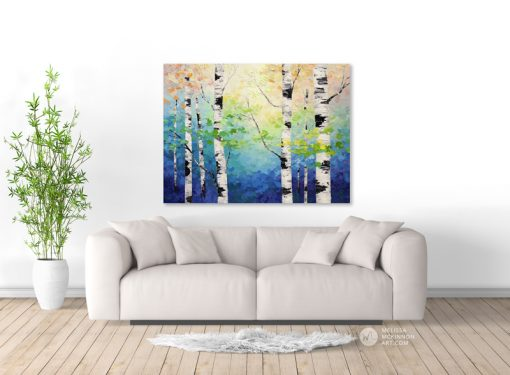 Colourful forest landscape painting of aspen trees and birch trees giclee art print on canvas by contemporary abstract landscape artist painter Melissa McKinnon painted with palette knife and impasto texture title 'In Harmony', tree paintings, landscape paintings, birch trees, aspen trees, treescape, tree paintings on canvas, birch tree art, tree of life painting, birch tree canvas, aspen tree paintings, tree art, aspens, birches, art print, prints on canvas, giclee prints, acrylic paintings, oil paintings, paintings with texture, tree of life, nature painting, scenery painting, abstract art, contemporary art, modern art, abstract painting, modern paintings, art gallery, art galleries, online art gallery, art for sale, paintings for sale, wall painting, wall art, wall decor, home decor, living room painting, abstract landscape painting, abstract landscape, landscape artist, forest paintings, birch tree painting, forest paintings, fall painting, autumn painting, American art, american artist, Canadian art, colourful art, living room art, bedroom decor, bedroom painting, kitchen decor, kitchen painting, kitchen art, bedroom art, fine art, painting, picture art, original art, original paintings, large paintings, Canadian paintings, American paintings, interiors, interior decorating, interior design, interior designer, home decor ideas, interior design ideas, living room ideas, home interior design, house decoration, Melissa McKinnon art, Melissa McKinnon paintings,