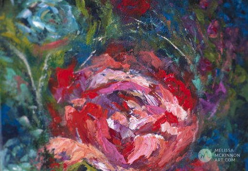 Fine art floral painting on canvas of of red rose flower bouquet giclee art print by contemporary abstract botanical artist painter Melissa McKinnon painted with palette knife and impasto texture title 'I'm Happiest With You', flower painting; paintings of flowers, paintings of white flowers, abstract flower painting; abstract floral painting; oil painting of flowers, acrylic painting of flowers, paintings of white flowers, flower art; floral painting; botanical painting; botanical art; floral art; flower arrangement; paintings of flower bouquet; floral bouquet; white poppies; painting of field of flowers, white rose painting; painting of wildflowers, landscape painting; landscape art; landscape artists; abstract landscape painting; abstract landscape; scenery paintings; paintings of nature; nature paintings; nature art; landscape oil paintings; landscape acrylic paintings; original art; original paintings; oil paintings; acrylic paintings; paintings gallery; canvas painting; beautiful landscape paintings; western art;  western paintings; modern artist paintings; art gallery; Contemporary Artist;  contemporary painting;  original art; original paintings; oil paintings; oil paintings for sale; acrylic paintings;  paintings with texture; impasto painting;  Canadian artist; Canadian art; Canadian paintings; American artist; American artist; American paintings;  large paintings; big paintings; large canvas paintings; large wall paintings; contemporary landscape painting; Contemporary painting; colourful painting; paintings for sale; canvas wall art; wall art canvas; canvas art; wall art decor; bedroom wall decor; bathroom wall decor; living room wall decor; kitchen wall decor; interiors; interior decorating; interior design; interior designer; home decor ideas; interior design ideas; living room ideas; home interior design; house decoration; Melissa McKinnon art; Melissa McKinnon paintings; Melissa McKinnon art.