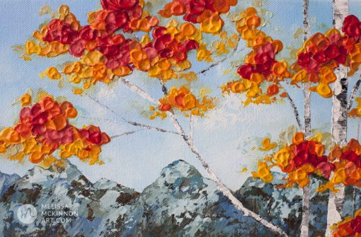 Landscape painting of mountains and aspen and birch tree forest with fall foliage in autumn by contemporary painter artist Melissa McKinnon giclee art print of nature 'Morning Hike', landscape paintings, landscape art, mountain paintings, mountain art, rocky mountains, mountain view, mountain range, art prints of mountains, acrylic paintings, oil paintings, paintings with texture, nature painting, scenery painting, art print, prints on canvas, giclee prints, art prints of nature, art prints of landscapes, giclee print on canvas, landscapes, mountains, abstract art, contemporary art, modern art, abstract painting, modern paintings, art gallery, art galleries, online art gallery, art for sale, paintings for sale, wall painting, wall art, wall decor, home decor, living room painting, abstract landscape painting, abstract landscape, landscape artist, American art, american artist, Canadian art, colourful art, living room art, bedroom decor, bedroom painting, kitchen decor, kitchen painting, kitchen art, bedroom art, fine art, painting, picture art, original art, original paintings, large paintings, Canadian paintings, American paintings, interiors, interior decorating, interior design, interior designer, home decor ideas, interior design ideas, living room ideas, home interior design, house decoration, Melissa McKinnon art, Melissa McKinnon paintings,