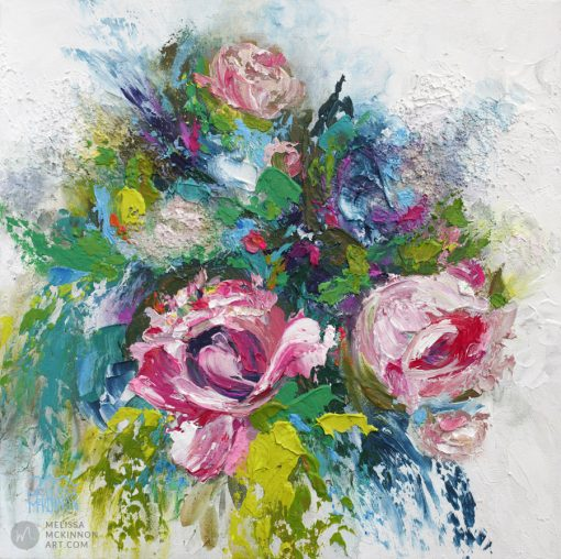 Fine art flower painting on canvas of roses and peony floral bouquet giclee art print by contemporary abstract botanical artist painter Melissa McKinnon painted with palette knife and impasto texture title 'Summer Disco', flower painting; paintings of flowers, paintings of white flowers, abstract flower painting; abstract floral painting; oil painting of flowers, acrylic painting of flowers, paintings of white flowers, flower art; floral painting; botanical painting; botanical art; floral art; flower arrangement; paintings of flower bouquet; floral bouquet; white poppies; painting of field of flowers, white rose painting; painting of wildflowers, landscape painting; landscape art; landscape artists; abstract landscape painting; abstract landscape; scenery paintings; paintings of nature; nature paintings; nature art; landscape oil paintings; landscape acrylic paintings; original art; original paintings; oil paintings; acrylic paintings; paintings gallery; canvas painting; beautiful landscape paintings; western art;  western paintings; modern artist paintings; art gallery; Contemporary Artist;  contemporary painting;  original art; original paintings; oil paintings; oil paintings for sale; acrylic paintings;  paintings with texture; impasto painting;  Canadian artist; Canadian art; Canadian paintings; American artist; American artist; American paintings;  large paintings; big paintings; large canvas paintings; large wall paintings; contemporary landscape painting; Contemporary painting; colourful painting; paintings for sale; canvas wall art; wall art canvas; canvas art; wall art decor; bedroom wall decor; bathroom wall decor; living room wall decor; kitchen wall decor; interiors; interior decorating; interior design; interior designer; home decor ideas; interior design ideas; living room ideas; home interior design; house decoration; Melissa McKinnon art; Melissa McKinnon paintings; Melissa McKinnon art.