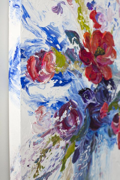 Fine art floral painting on canvas of red roses poppy and peony flower bouquet giclee art print by contemporary abstract botanical artist painter Melissa McKinnon painted with palette knife and impasto texture title 'I'm Happiest With You', flower painting; paintings of flowers, paintings of white flowers, abstract flower painting; abstract floral painting; oil painting of flowers, acrylic painting of flowers, paintings of white flowers, flower art; floral painting; botanical painting; botanical art; floral art; flower arrangement; paintings of flower bouquet; floral bouquet; white poppies; painting of field of flowers, white rose painting; painting of wildflowers, landscape painting; landscape art; landscape artists; abstract landscape painting; abstract landscape; scenery paintings; paintings of nature; nature paintings; nature art; landscape oil paintings; landscape acrylic paintings; original art; original paintings; oil paintings; acrylic paintings; paintings gallery; canvas painting; beautiful landscape paintings; western art;  western paintings; modern artist paintings; art gallery; Contemporary Artist;  contemporary painting;  original art; original paintings; oil paintings; oil paintings for sale; acrylic paintings;  paintings with texture; impasto painting;  Canadian artist; Canadian art; Canadian paintings; American artist; American artist; American paintings;  large paintings; big paintings; large canvas paintings; large wall paintings; contemporary landscape painting; Contemporary painting; colourful painting; paintings for sale; canvas wall art; wall art canvas; canvas art; wall art decor; bedroom wall decor; bathroom wall decor; living room wall decor; kitchen wall decor; interiors; interior decorating; interior design; interior designer; home decor ideas; interior design ideas; living room ideas; home interior design; house decoration; Melissa McKinnon art; Melissa McKinnon paintings; Melissa McKinnon art.