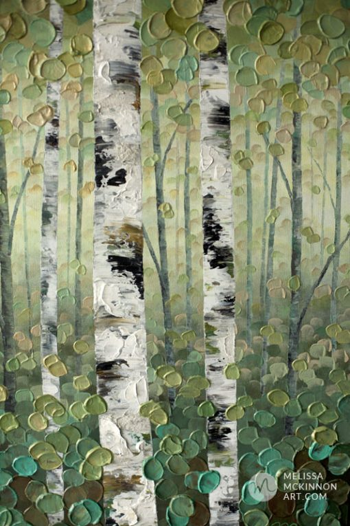 Abstract tree landscape nature painting of aspen trees and birch trees giclee art print on canvas by contemporary abstract landscape artist painter Melissa McKinnon 'The Forest Through the Trees', tree paintings, tree art, landscape paintings, tree paintings on canvas, nature art, scenery painting,  birch tree art, tree of life painting, birch tree canvas, aspen tree paintings, birch tree paintings, nature paintings, tree art, art prints of trees, art prints of nature, giclee print on canvas, abstract landscape painting, birch trees, aspen trees, treescape, aspen tree art, aspens, birches, art print, prints on canvas, giclee prints, acrylic paintings, oil paintings, paintings with texture, tree of life, abstract landscape, landscape artist, forest paintings, birch tree painting, forest paintings, fall painting, autumn painting, abstract art, contemporary art, modern art, abstract painting, modern paintings, art gallery, art galleries, online art gallery, art for sale, paintings for sale, wall painting, wall art, wall decor, home decor, living room painting, American art, american artist, Canadian art, colourful art, living room art, bedroom decor, bedroom painting, kitchen decor, kitchen painting, kitchen art, bedroom art, fine art, painting, picture art, original art, original paintings, large paintings, Canadian paintings, American paintings, interiors, interior decorating, interior design, interior designer, home decor ideas, interior design ideas, living room ideas, home interior design, house decoration, Melissa McKinnon art, Melissa McKinnon paintings,